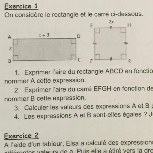 Bonsoir, pouvez vous m'aider svp ! :  on considère le rectangle et le carré ci-dessous