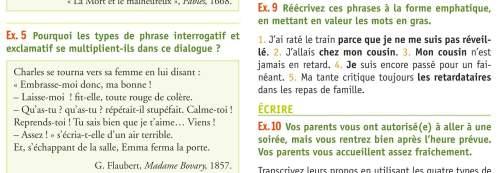 J'ai deux exercices en français : povez vous m'aider svp ?